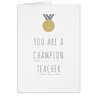 Cartão da fónica do professor do campeão