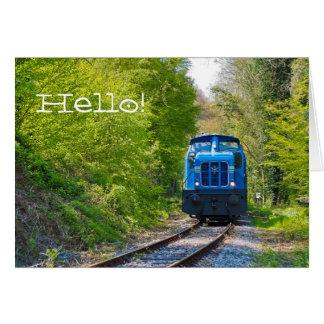 Cartão Da foto azul da locomotiva do trem nota vazia olá!