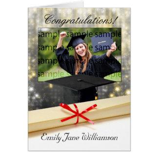 cartão da foto da graduação dos parabéns