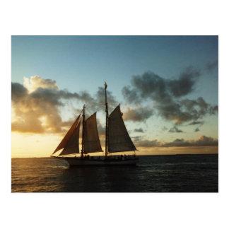 Cartão da foto da vela do por do sol de Key West