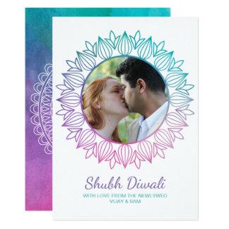 Cartão da foto de Diwali da aguarela do Newlywed