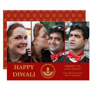 Cartão da foto de Diwali do Newlywed - cor feita
