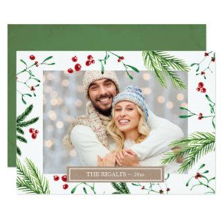 Cartão da foto de família do Natal