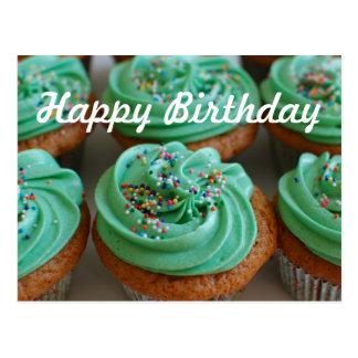 Cartão da foto do aniversário dos cupcakes