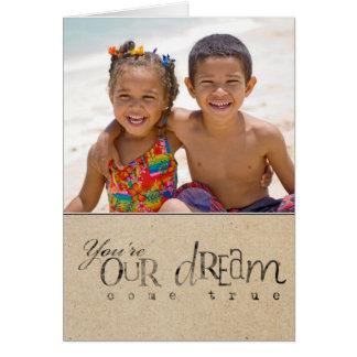 Cartão da foto do anúncio do dia da adopção