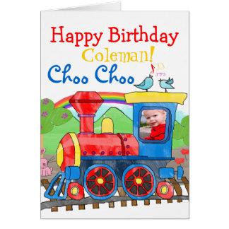Cartão da foto do feliz aniversario do trem