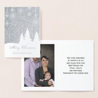 Cartão Metalizado Cartão da foto do Feliz Natal da folha de ouro
