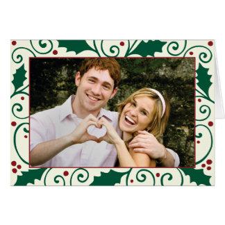 Cartão da foto do feriado do azevinho