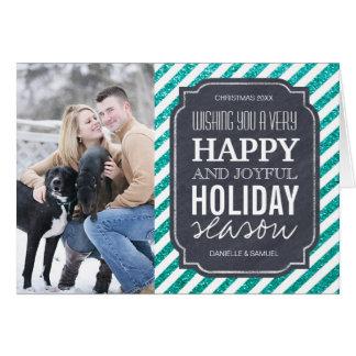 Cartão da foto do feriado do brilho de turquesa