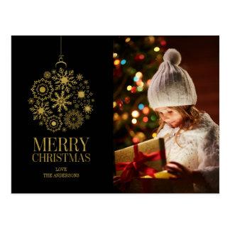 Cartão da foto do feriado do ornamento do floco de