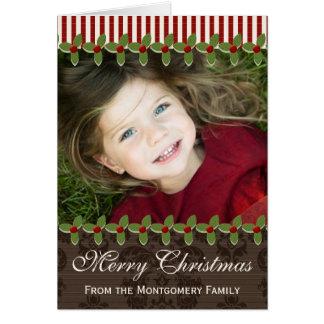 Cartão da foto do Natal da baga do azevinho