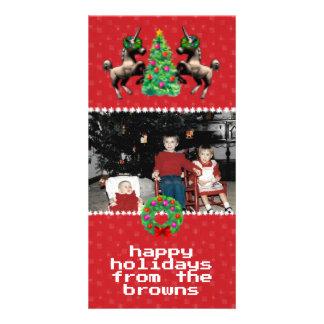 """""""cartão da foto do Natal de 8 bits"""" (vermelho) Cartão Com Foto"""