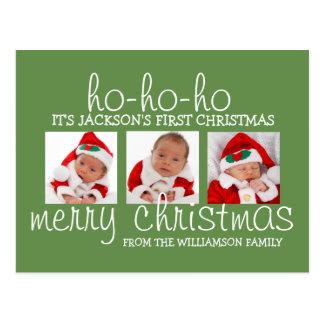 Cartão da foto do Natal três do bebê do papai noel
