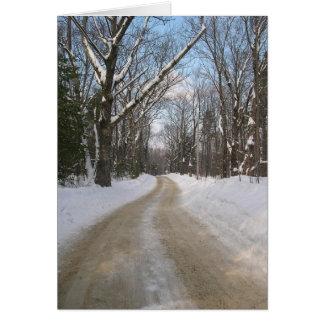Cartão da fotografia da estrada do inverno