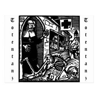 Cartão da freira e do esqueleto de Vom Totentanz