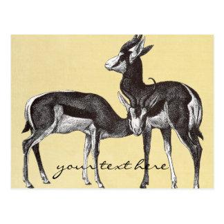 Cartão da gazela do vintage