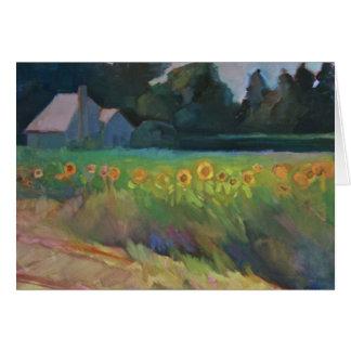 """Cartão Da """"girassóis borda da estrada - uma paisagem do"""