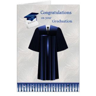 Cartão da graduação com almofariz, vestido e