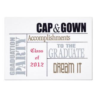 Cartão da graduação convite 12.7 x 17.78cm