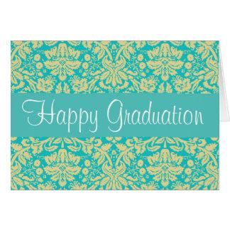 Cartão da graduação do damasco do azul e do