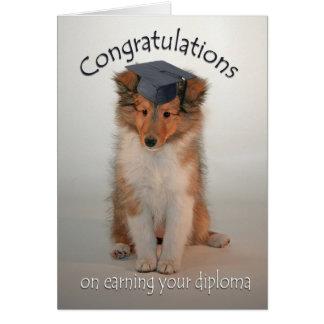 Cartão da graduação do filhote de cachorro de