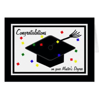 Cartão da graduação do grau de mestrado