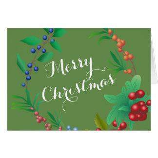Cartão da grinalda da baga do Feliz Natal
