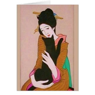 Cartão da gueixa japonesa e do gato preto