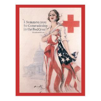 Cartão da guerra, cruz vermelha do vintage