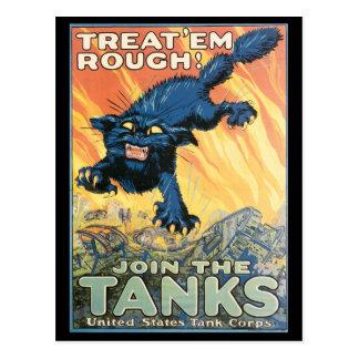 Cartão da guerra do vintage, poster do tanque do