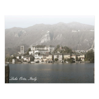 Cartão da ilha de San Giulio, lago Orta, Italia