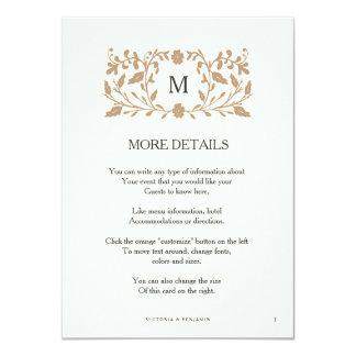 Cartão da inserção do casamento da página do