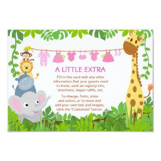 Cartão da inserção do chá de fraldas da menina do convites personalizado
