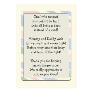 Cartão da inserção do pedido do livro do chá de cartão de visita grande