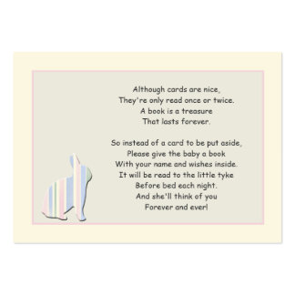 Cartão da inserção do rosa do poema do livro do cartão de visita grande