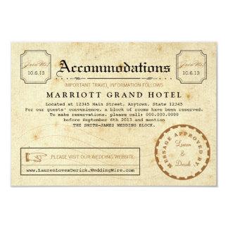 Cartão da inserção do viagem do alojamento em convite 8.89 x 12.7cm