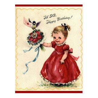 Cartão da irmã do aniversário do vintage