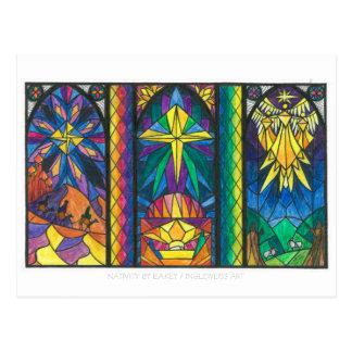 Cartão da janela de vitral da natividade