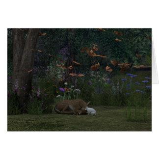 Cartão da jovem corça e do coelho