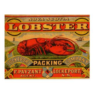 Cartão da lagosta de Nova Escócia do vintage