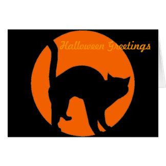 Cartão da lanterna de Jack o do gato preto