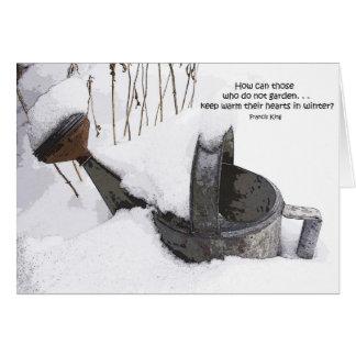Cartão da lata molhando do jardineiro
