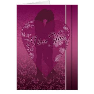 Cartão da lésbica eu te amo, com silhueta fêmea