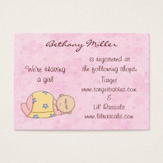 Cartão da lista de presentes do bebê do sono