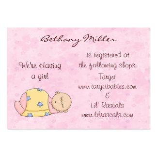 Cartão da lista de presentes do bebê do sono cartão de visita