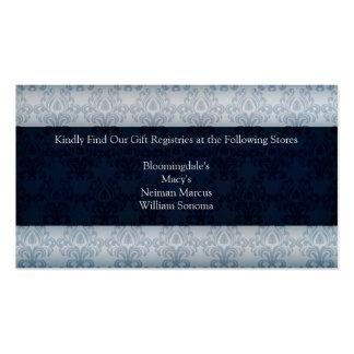 Cartão da lista de presentes do casamento do cartão de visita