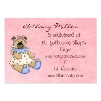 Cartão da lista de presentes do urso do bebê cartão de visita grande
