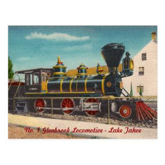 Cartão da locomotiva do vintage cartão postal