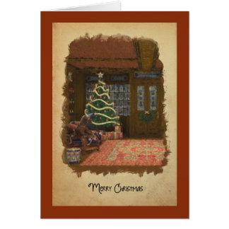 Cartão da loja de brinquedos do natal vintage