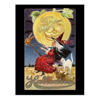 Cartão da lua da bruxa do Dia das Bruxas do